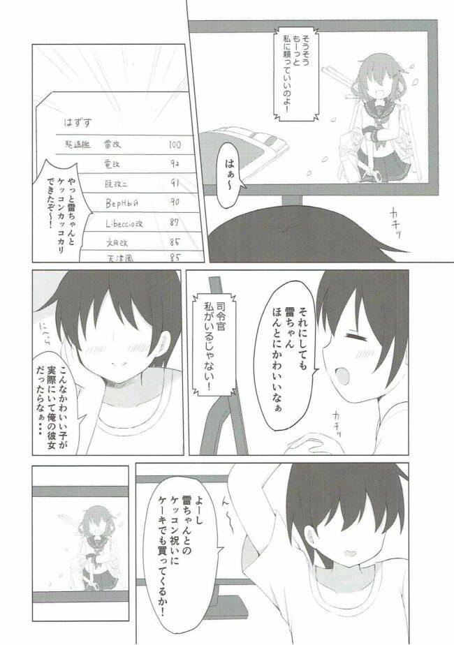 【エロ同人誌 艦これ】雷ちゃんとらぶらぶ新婚性活【White Lolita エロ漫画】 (3)